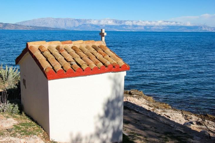 Seaside church in Jelsa on Hvar Island, Croatia