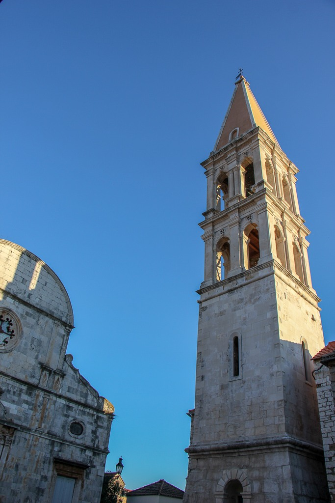 Historic St. Stephen's Church and Bell Tower in Stari Grad Old Town on Hvar Island, Croatia