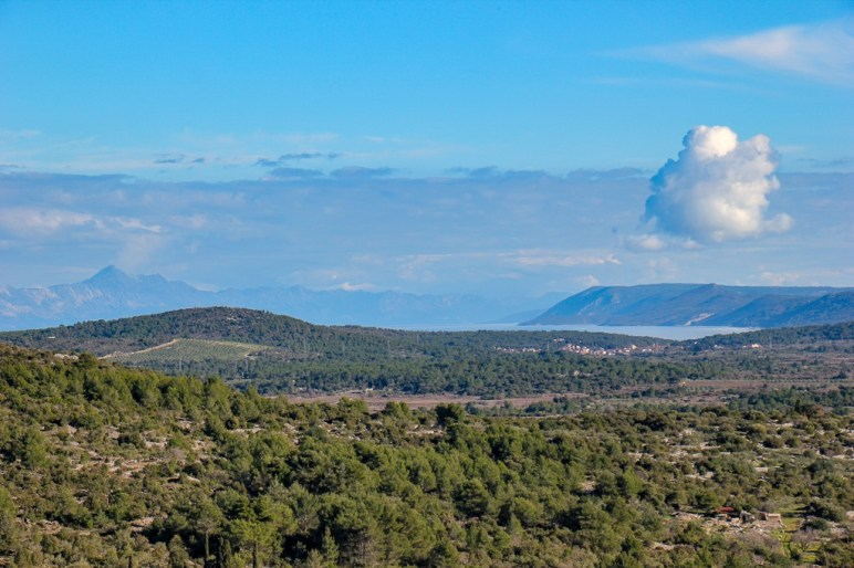 View of Stari Grad Plain and Hvar Island from Glavica Hill in Stari Grad