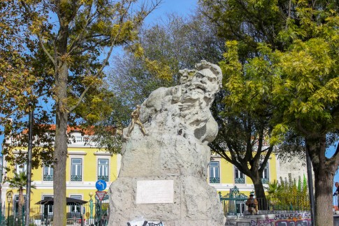 Statue of Adamastor at viewpoint in Lisbon, Portugal