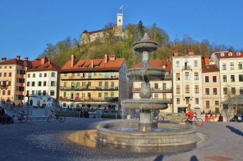Fountain in square in Ljubljana, Slovenia