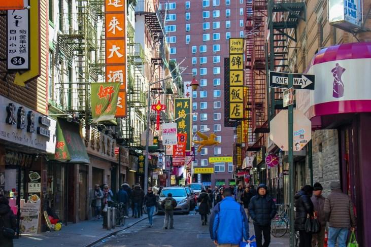 Pell Street in Chinatown in New York City, New York