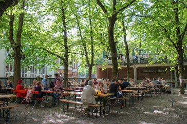 Spacious Biergarten at Hausbrauerei Feierling in city center of Freiburg, Germany