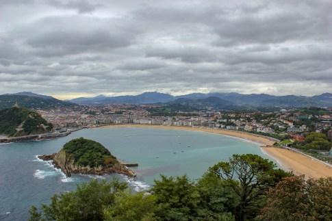 View of La Concha Bay from Monte Igueldo in San Sebastian, Spain