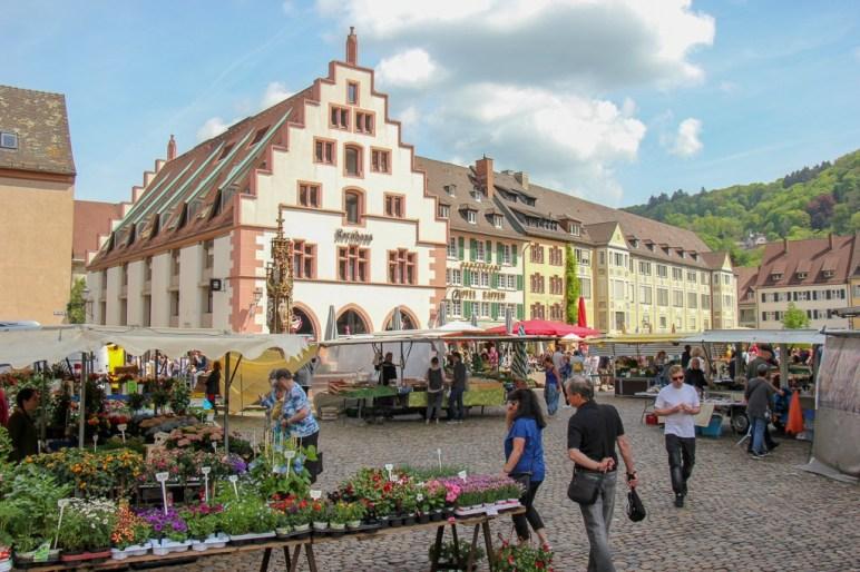 Daily market in Munsterplatz in Freiburg, Germany