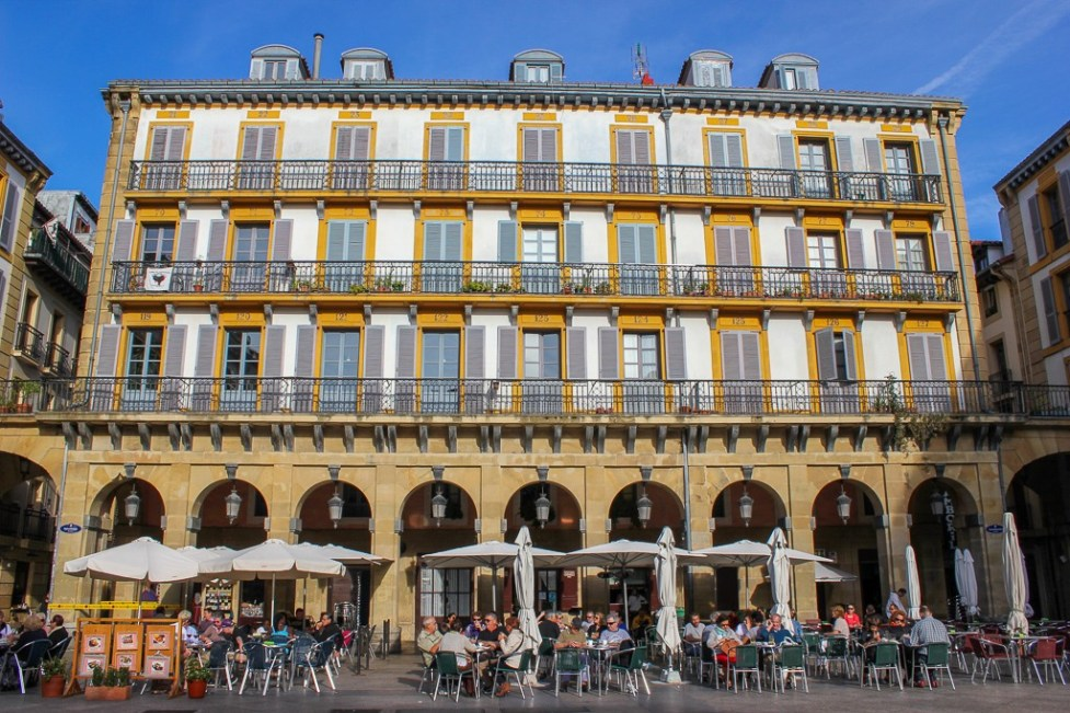 Historic Plaza de Constitucion in San Sebastian, Spain