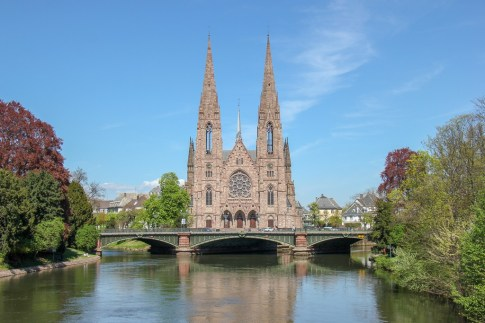 St. Paul's church spires in Strasbourg, France