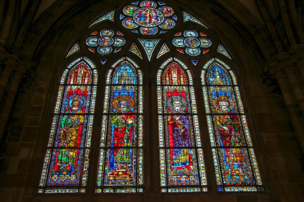 13th century stained glass windows at Cathedral in Strasbourg, France