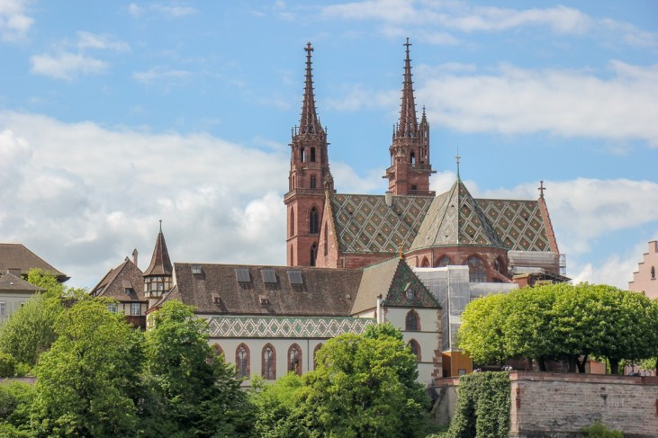 Colorful roof tiles of Basler Munster Cathedral in Basel, Switzerland