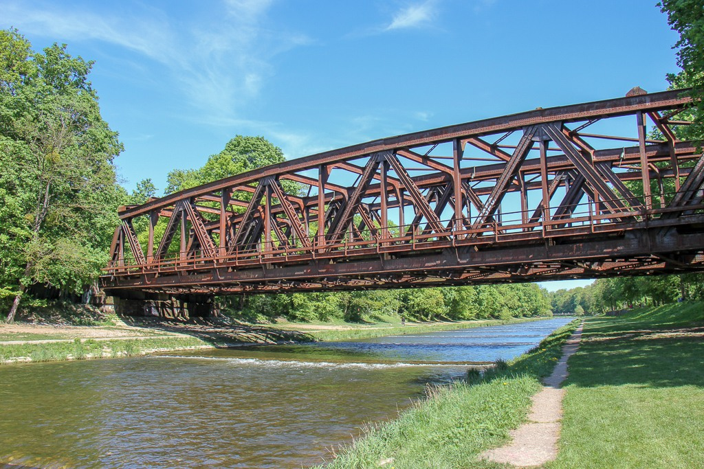 Railway bridge over Wiese River at Erlen Verein Park in Basel, Switzerland