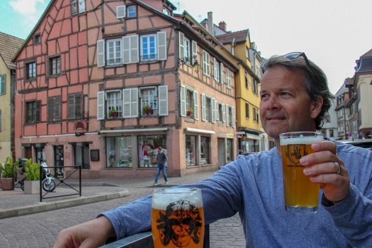Drinking St. Cru Craft Beer at The 3 Monkeys in Colmar, France