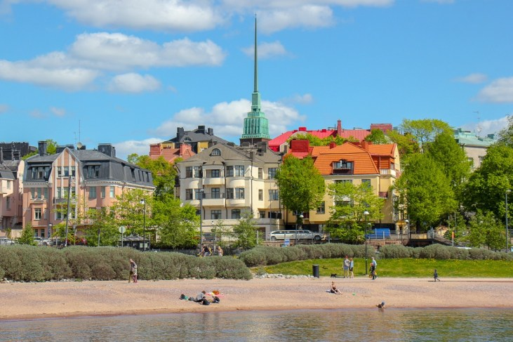 Eira Beach and architectural buildings in Helsinki, Finland