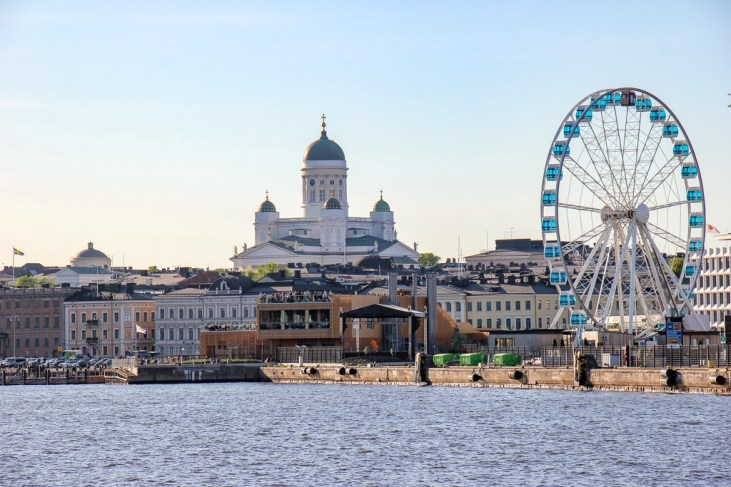 View of the Harbor and city skyline from sea in Helsinki, Finland
