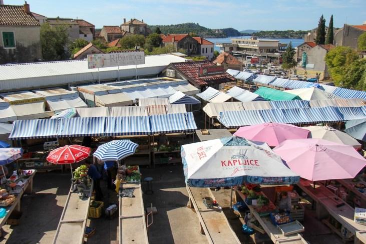 Locals shopping at Green Market, Sibenik, Croatia