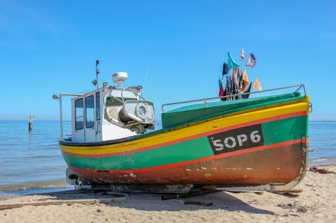 Colorful Kahubian boat at the Sopot Fishing Harbor in Sopot, Poland