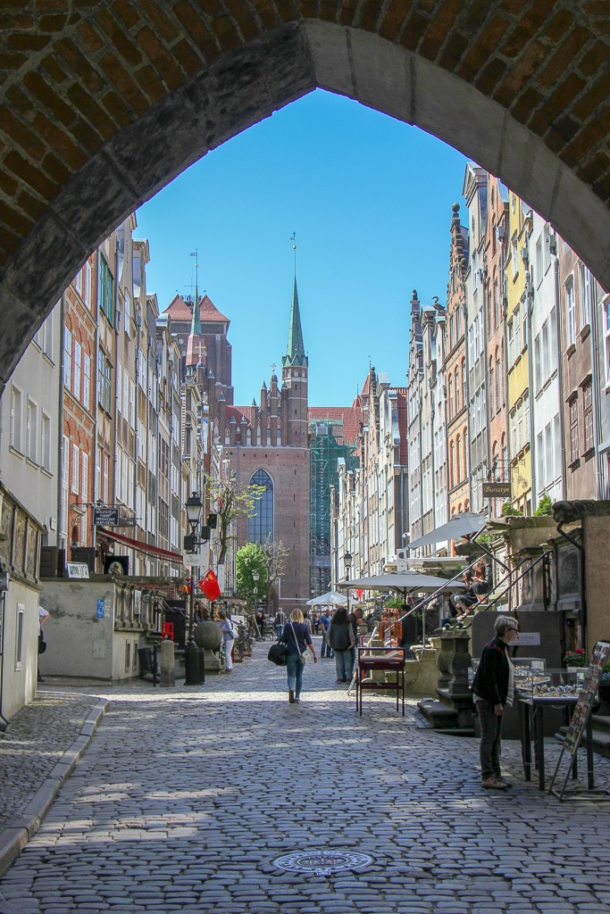 Looking down Mariacka Street from St. Mary's Gate in Gdansk, Poland