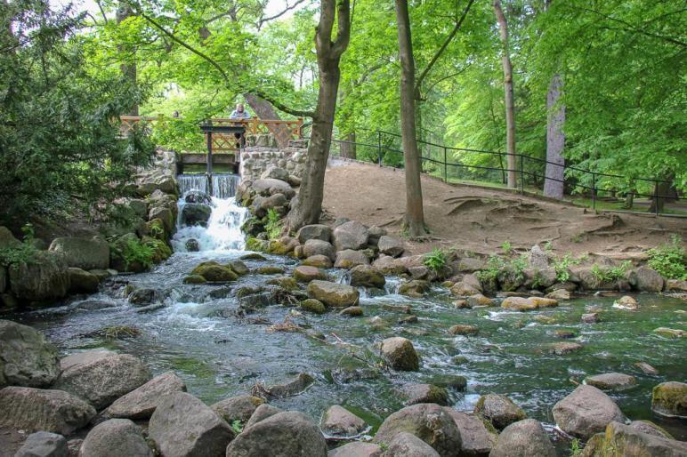 Stream and waterfall in Oliwa Park near Gdansk, Poland
