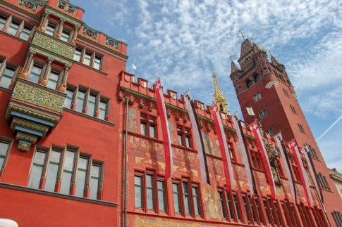 Striking red Rathaus Town Hall in Basel, Switzerland