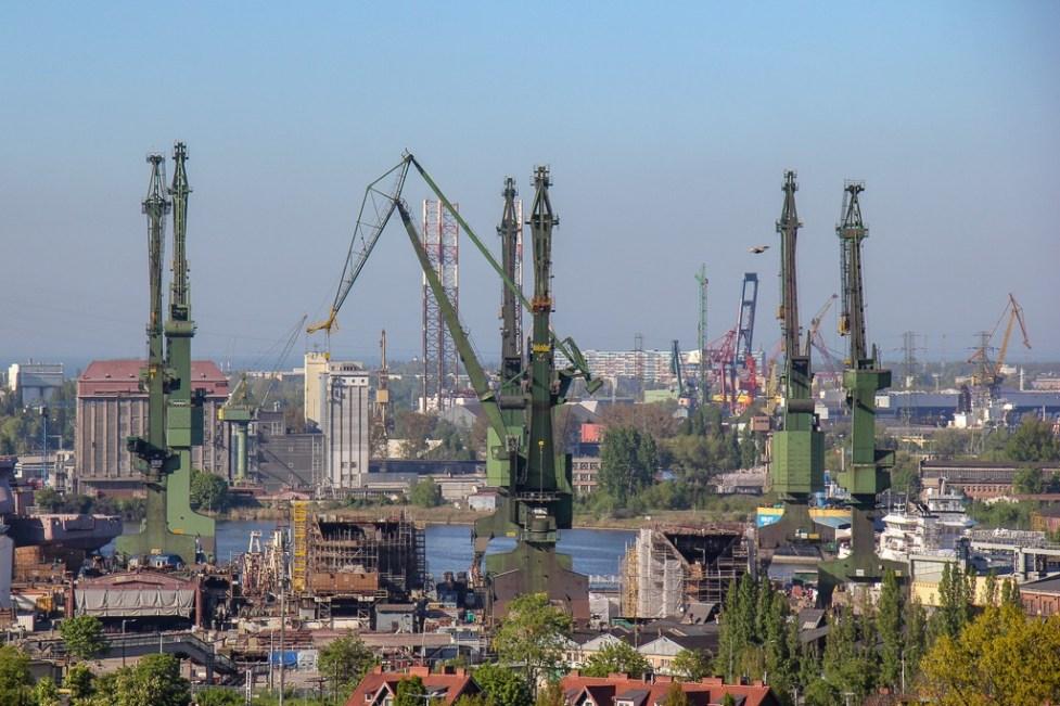 Green cranes at the Gdansk shipyard in Poland
