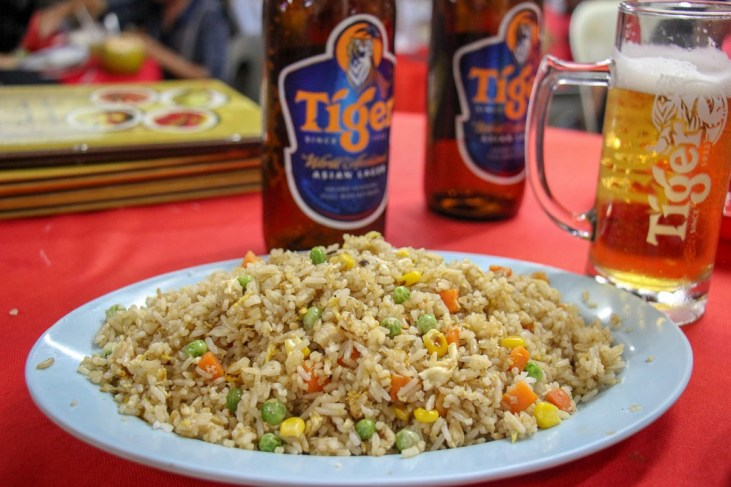 Plate of Chicken Fried Rice from Fung Wong in Chinatown Kuala Lumpur, Malaysia