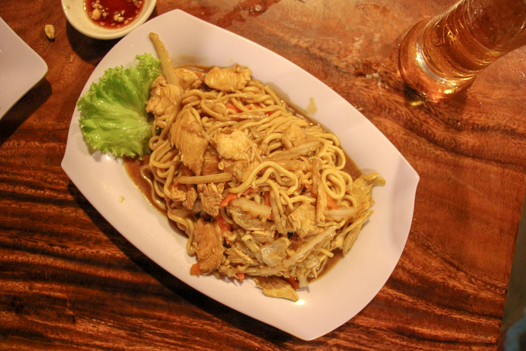 Hand-pulled Chicken and noodles at David's Homemade Noodle in Phnom Penh, Cambodia