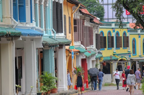 Colorful houses on Emerald Road in Singapore