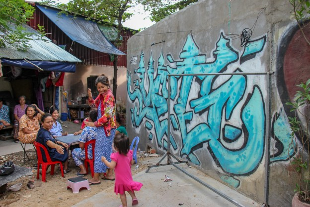 Street art in former Lakeside district in Phnom Penh, Cambodia