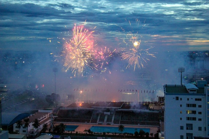 Firework display after event at Olympic Stadium in Phnom Penh, Cambodia