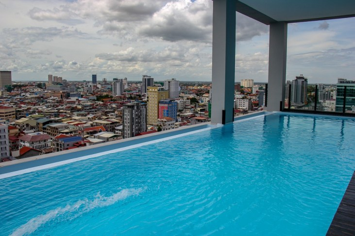 Rooftop infinity pool at SIM Boutique Hotel in Phnom Penh, Cambodia