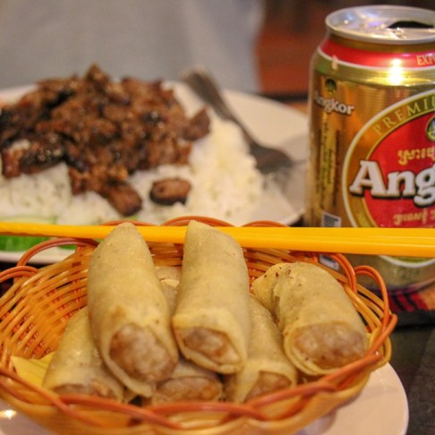 Spring rolls and Bai Sai Chrouk at Khmer Women Food in Phnom Penh, Cambodia
