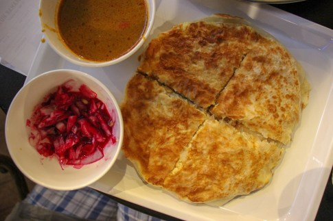 Traditional Indian food, Paratha, at Kedai Mamak Husin in Kuala Lumpur, Malaysia