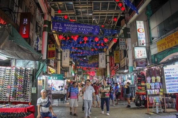 Shops at Petaling Street Market in Chinatown Kuala Lumpur, Malaysia