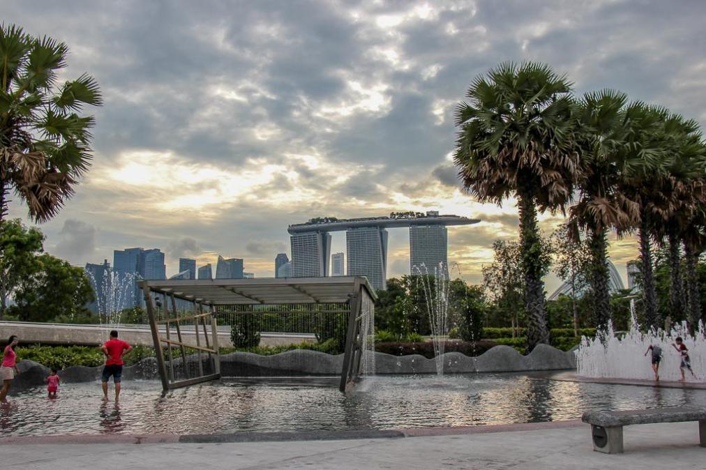 Splash pool near Marina Barrage in Singapore