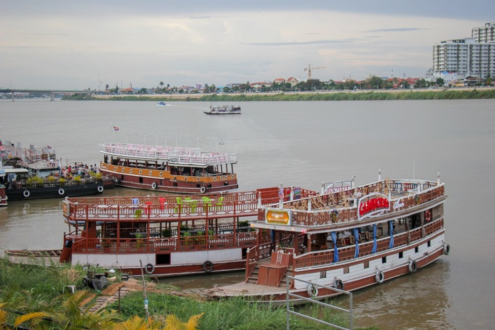 River boat cruise dock on Sisowath Quay in Phnom Penh, Cambodia