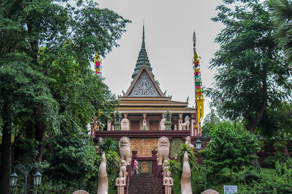 Grand staircase to Wat Phnom in Phnom Penh, Cambodia