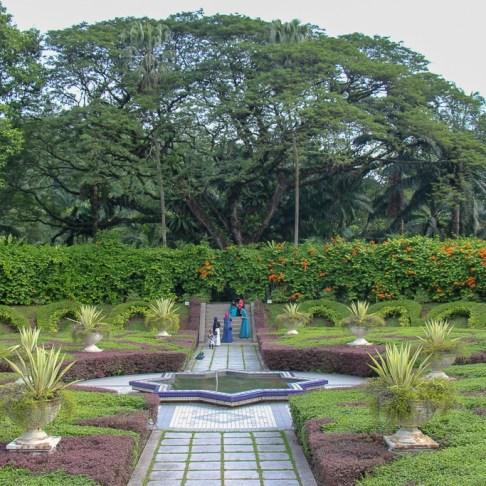 Sculpted hedges at Sunken Garden in Botanical Gardens in Kuala Lumpur, Malaysia