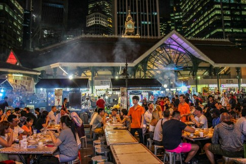 Historic Telok Ayer (Lau Pa Sat) Market and Satay Club in Downtown Singapore