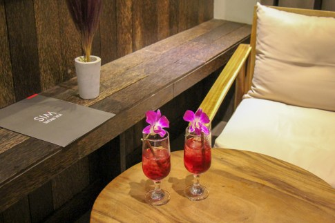 Welcome drinks with orchids at SIM Boutique Hotel in Phnom Penh, Cambodia