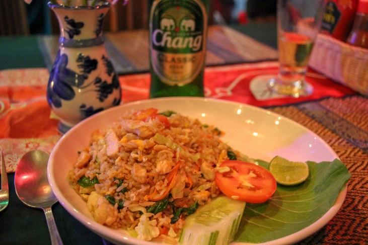 Plate of chicken fried Rice at Kamala Beach on Phuket, Thailand