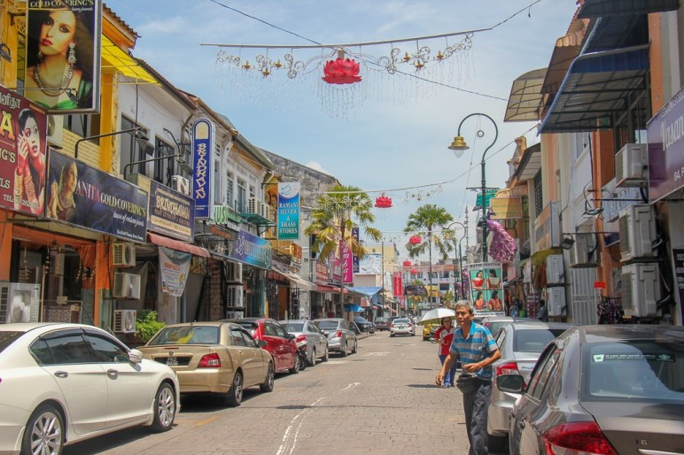 Colorful street in Little India district in Geroge Town, Penang, Malaysia