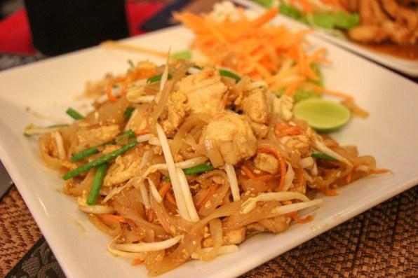 Pad Thai dinner at Blue Manao Restaurant at Kamala Beach on Phuket, Thailand