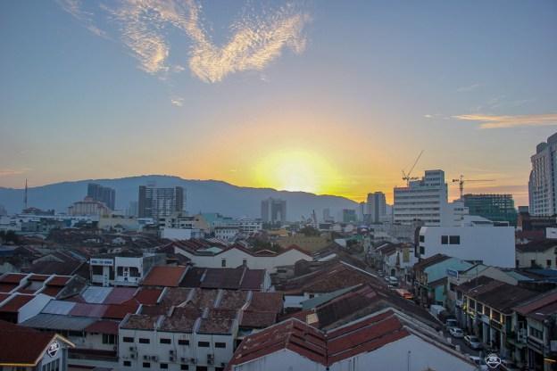 Sunset behind Penang Hill in Geroge Town, Penang, Malaysia