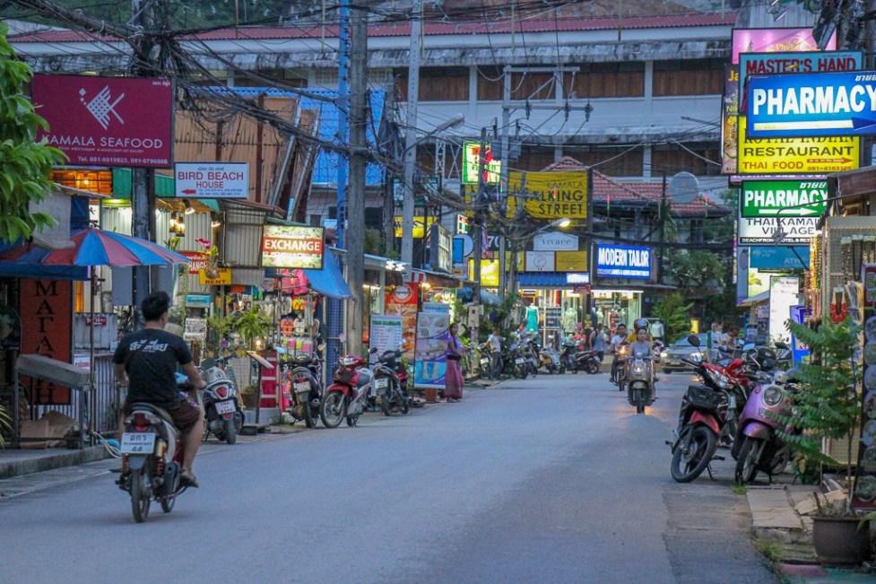 Rim Hat Road shops and restaurants at Kamala Beach on Phuket, Thailand
