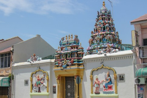 Colorful tower at Sri Mariamman Temple in Geroge Town, Penang, Malaysia