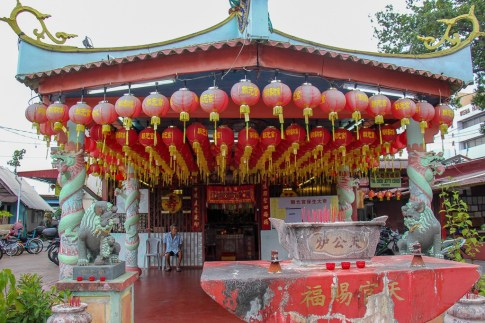 Lanterns hang from temple at Chew Jetty in Geroge Town, Penang, Malaysia