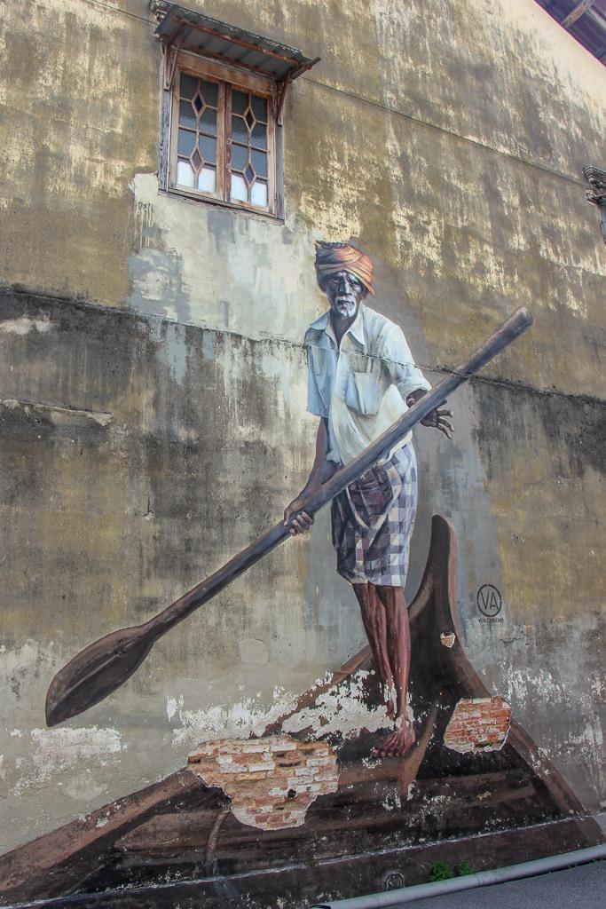 The Indian Boatman wall mural in Geroge Town, Penang, Malaysia