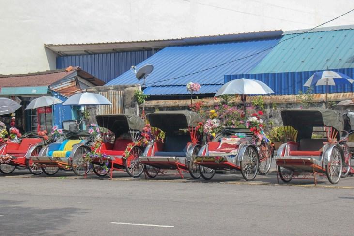 Row of trishaws in Geroge Town, Penang, Malaysia