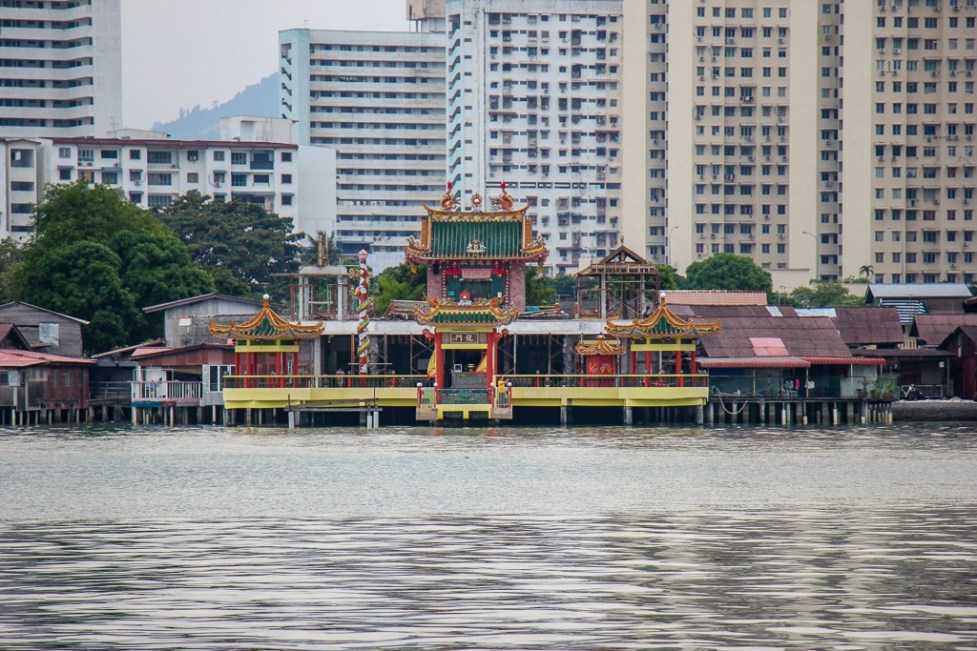 Kuan Yin Floating Temple from Chew Jetty in Geroge Town, Penang, Malaysia