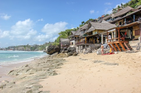 Beachfront warungs on Bingin Beach in Uluwatu, Bali, Indonesia