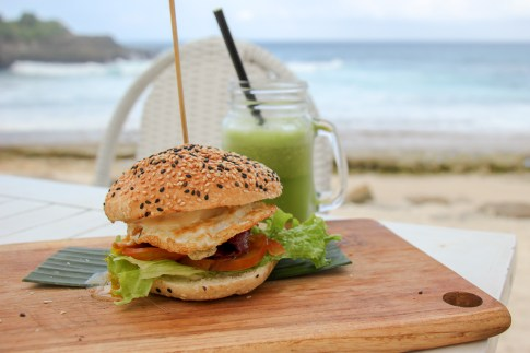 Brekky Burger at Sandy Bay Beach Club on Nusa Lembongan, Bali, Indonesia